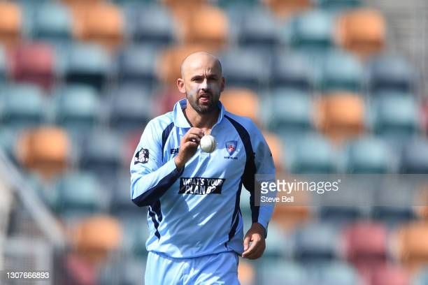 Nathan Lyon of the Blues prepares to bowl during the Marsh One Day Cup match between Tasmania and New South Wales at Blundstone Arena on March 18,...