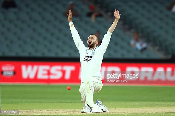 Nathan Lyon of the NSW Blues appeals for a wicket during day two of the Sheffield Shield match between South Australia and New South Wales at...