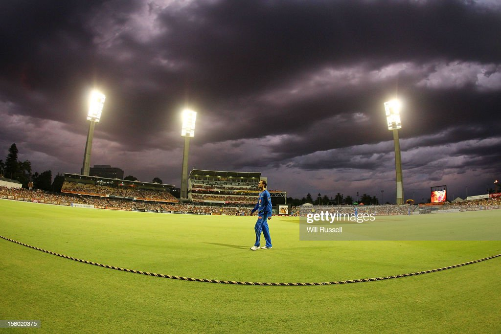 Nathan Lyon of the Strikers walks to his fielding position during the Big Bash League match between the Perth Scorchers and Adelaide Strikers at WACA on December 9, 2012 in Perth, Australia.