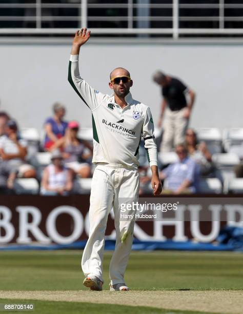 Nathan Lyon of Worcestershire reacts during the Specsavers County Championship division two match between Northamptonshire and Worcestershire at The...