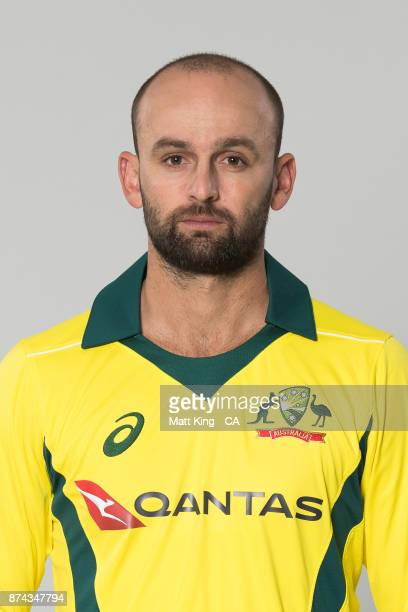 Nathan Lyon poses during the Australia One Day International Team Headshots Session at Intercontinental Double Bay on October 15 2017 in Sydney...