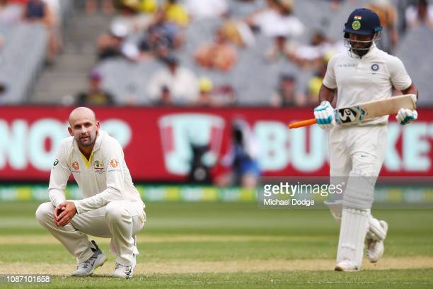 Nathan Lyon shows his frustration after Pat Cummins of Australia dropped a catch to dismiss Rishabh Pant of India during day two of the Third Test...