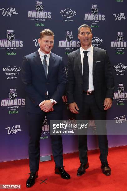 Nathan MacKinnon and coach Jared Bednar of the Colorado Avalanche arrives at the 2018 NHL Awards presented by Hulu at the Hard Rock Hotel Casino on...