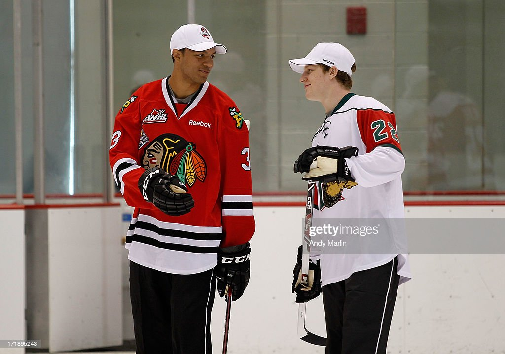 Nathan MacKinnon and Seth Jones attend the 2013 NHL Draft - Top Prospects Clinic at Prudential Center on June 29, 2013 in Newark, New Jersey.