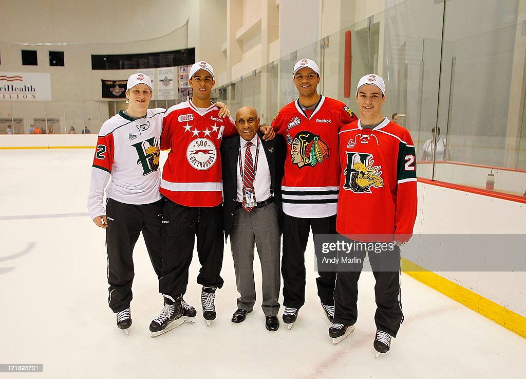 Nathan MacKinnon, Darnell Nurse, Willie O'Ree, Seth Jones and Jonathan Drouin attend the 2013 NHL Draft - Top Prospects Clinic at Prudential Center on June 29, 2013 in Newark, New Jersey.