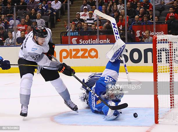 Nathan MacKinnon of Team North America scores a second period goal against Pekka Rinne of Team Finland during the World Cup of Hockey tournament at...
