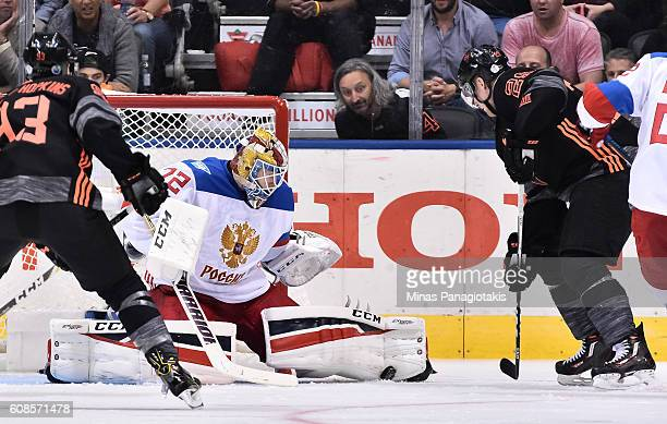 Nathan MacKinnon of Team North America tries to push the puck past Sergei Bobrovsky of Team Russia during the World Cup of Hockey 2016 at Air Canada...