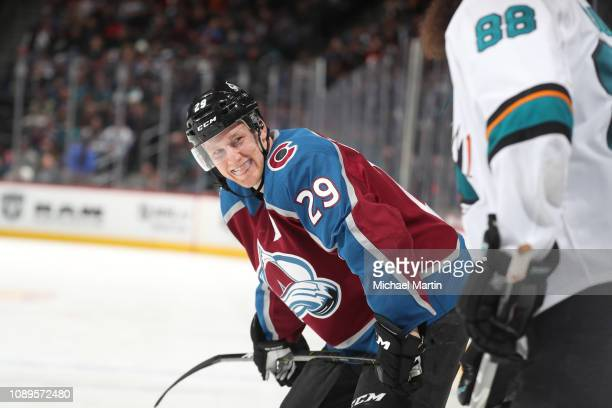 92b064ed060 Nathan MacKinnon of the Colorado Avalanche and Brent Burns of the San Jose  Sharks share a