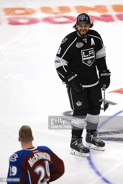 Nathan MacKinnon of the Colorado Avalanche and Drew Doughty of the Los Angeles Kings joke around in the Oscar Mayer NHL Hardest Shot event during the...
