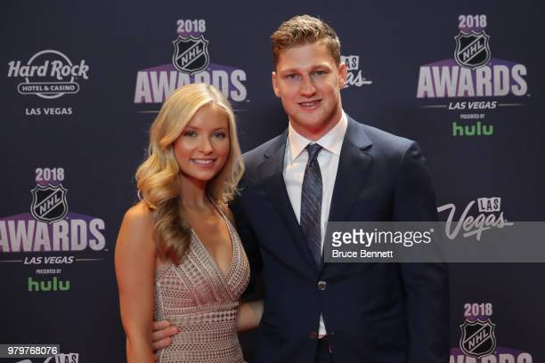 Nathan MacKinnon of the Colorado Avalanche and guest arrive at the 2018 NHL Awards presented by Hulu at the Hard Rock Hotel Casino on June 20 2018 in...