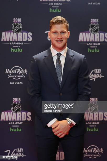 Nathan MacKinnon of the Colorado Avalanche arrives at the 2018 NHL Awards presented by Hulu at the Hard Rock Hotel Casino on June 20 2018 in Las...