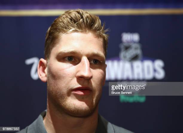 Nathan MacKinnon of the Colorado Avalanche attends the 2018 NHL Awards nominee media availability at the Encore Las Vegas on June 19 2018 in Las...