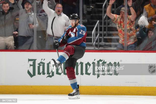 Nathan MacKinnon of the Colorado Avalanche celebrates after scoring his second goal of the game against the Nashville Predators in Game Three of the...