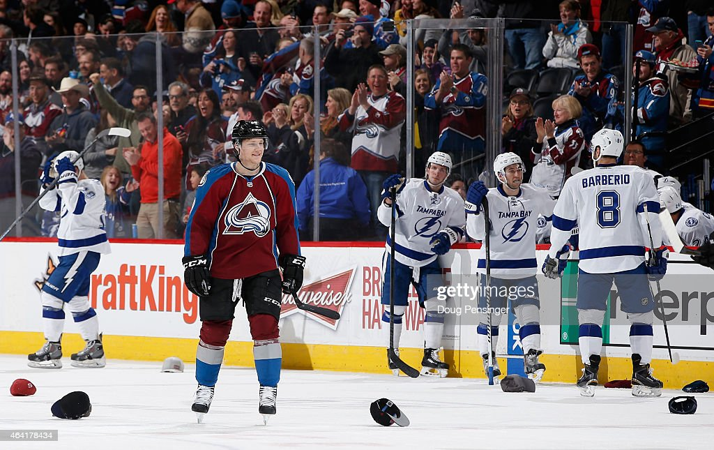 Nathan MacKinnon #29 of the Colorado Avalanche celebrates his hat trick against the Tampa Bay Lightning in the second period at Pepsi Center on February 22, 2015 in Denver, Colorado. The Avalanche defeated the Lightning 5-4.