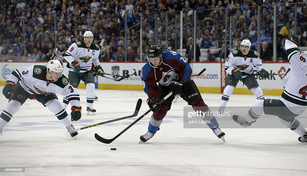 Nathan MacKinnon (29) of the Colorado Avalanche fires in the first Avalanche goal of the game during the first period of action. The Colorado Avalanche hosted the Minnesota Wild in the first round of the Stanley Cup Playoffs at the Pepsi Center in Denver, Colorado on Saturday, April 19, 2014.