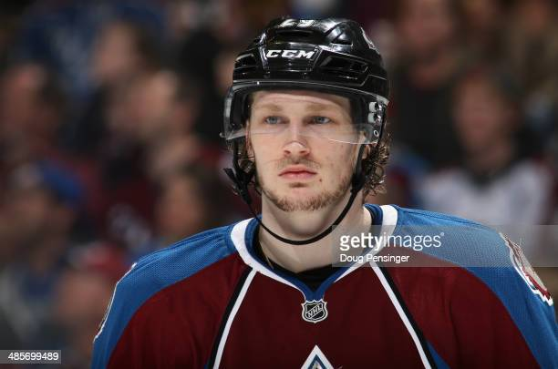 Nathan MacKinnon of the Colorado Avalanche looks on during a break in the action against the Minnesota Wild in Game Two of the First Round of the...