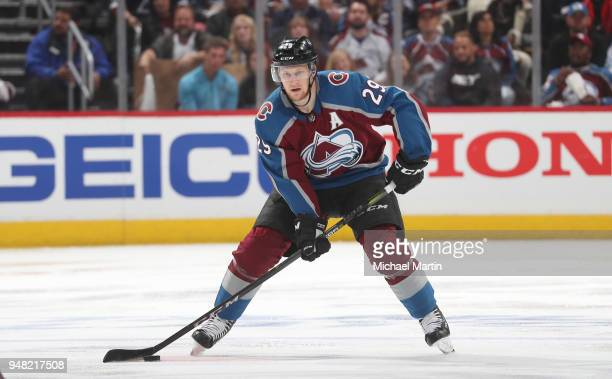 Nathan MacKinnon of the Colorado Avalanche skates against the Nashville Predators in Game Three of the Western Conference First Round during the 2018...