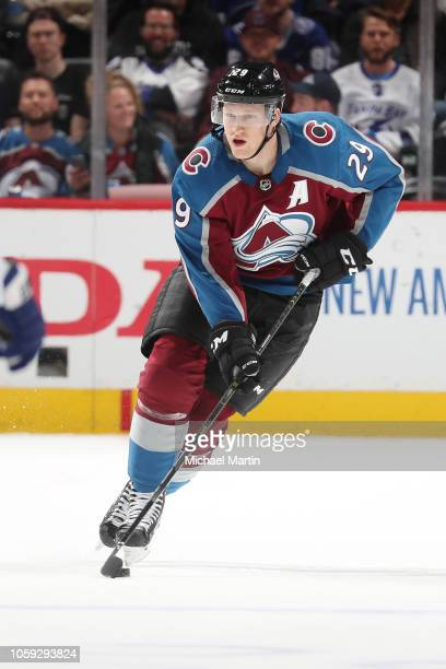 Nathan MacKinnon of the Colorado Avalanche skates against the Tampa Bay Lightning at the Pepsi Center on October 24 2018 in Denver Colorado The...
