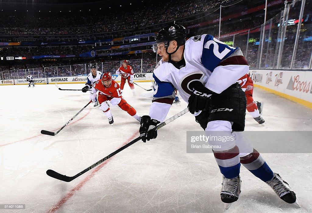 online retailer 49e5a f3790 Nathan MacKinnon of the Colorado Avalanche skates with the ...