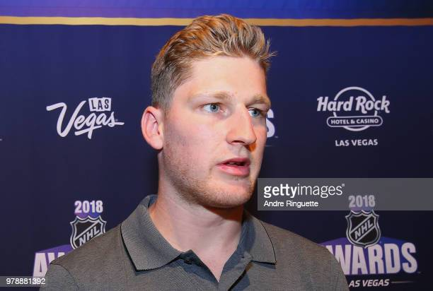 Nathan MacKinnon of the Colorado Avalanche speaks during media availability at the Hard Rock Hotel Casino on June 19 2018 in Las Vegas Nevada