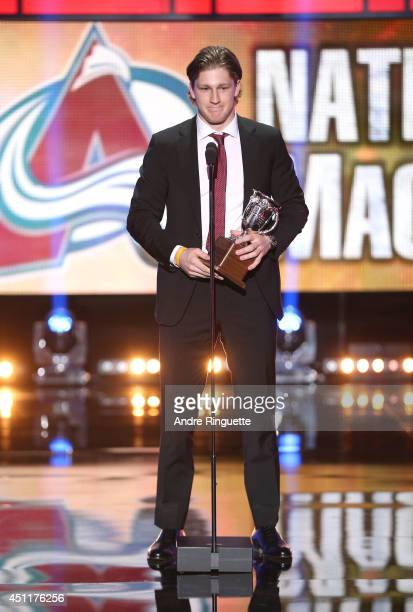 Nathan MacKinnon of the Colorado Avalanche speaks onstage after winning the Calder Memorial Trophy during the 2014 NHL Awards at the Encore Theater...