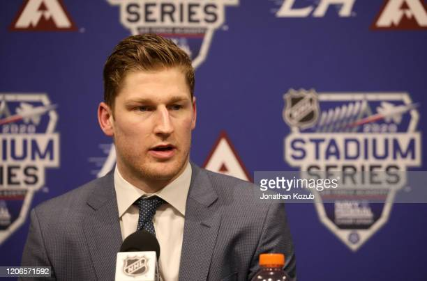 Nathan MacKinnon of the Colorado Avalanche speaks to the media after the 2020 NHL Stadium Series game between the Los Angeles Kings and the Colorado...