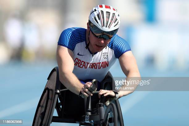 Nathan Maguire of Great Britain competes in round 1/heat 1 of the Men's 100m T54 on Day One of the IPC World Para Athletics Championships 2019 Dubai...