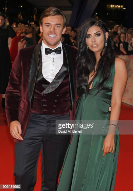 Nathan Massey and Cara de la Hoyde attend the National Television Awards 2018 at The O2 Arena on January 23 2018 in London England