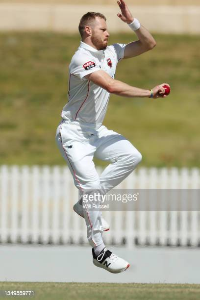 Nathan McAndrew of South Australia bowls during day two of the Sheffield Shield match between Western Australia and South Australia at WACA, on...