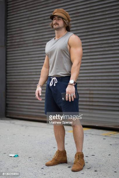 Nathan McCollum is seen attending Nick Graham during Men's New York Fashion Week wearing Lack of Color and Asos on July 11 2017 in New York City