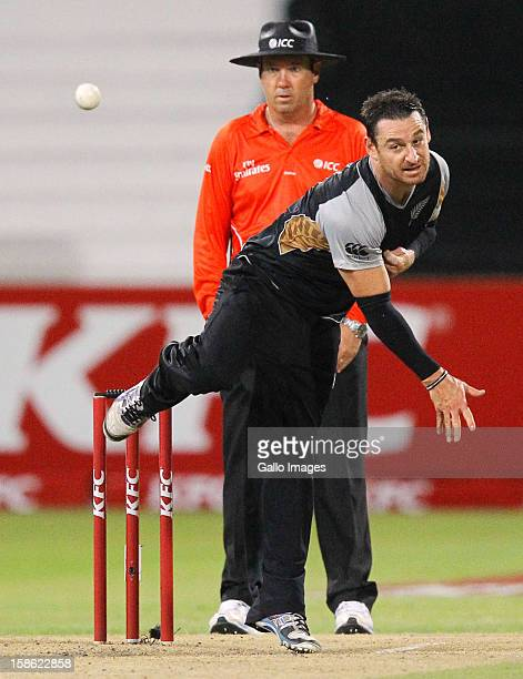 Nathan McCullum of New Zealand bowls during the 1st T20 match between South Africa and New Zealand at Sahara Park Kingsmead on December 21 2012 in...