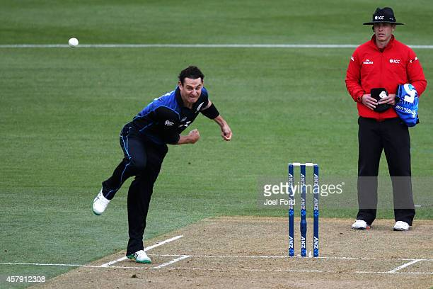 Nathan McCullum of New Zealand bowls during the One Day International match between New Zealand and South Africa at Seddon Park on October 27 2014 in...