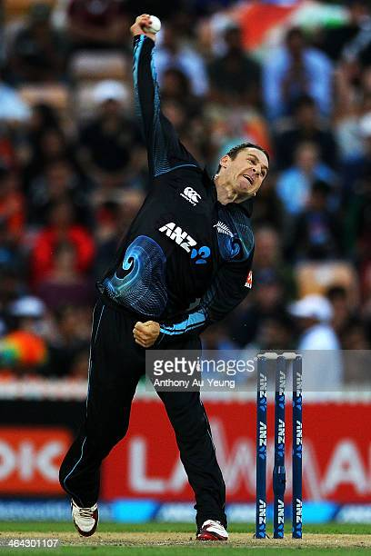 Nathan McCullum of New Zealand bowls during the One Day International match between New Zealand and India at Seddon Park on January 22 2014 in...