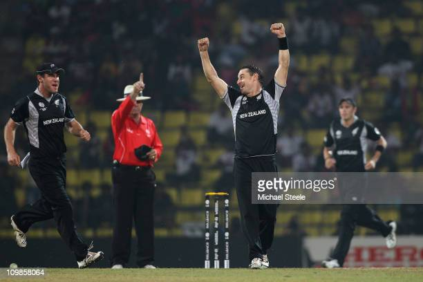 Nathan McCullum of New Zealand celebrates taking the wicket of Abdur Rehman during the New Zealand v Pakistan 2011 ICC World Cup Group A match at the...