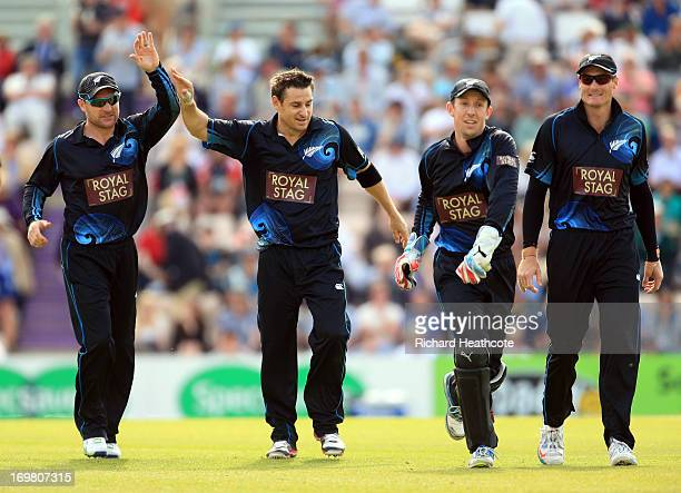 Nathan McCullum of New Zealand celebrates the wicket of Joe Root during the 2nd Natwest Series ODI at the Ageas Bowl on June 2 2013 in Southampton...