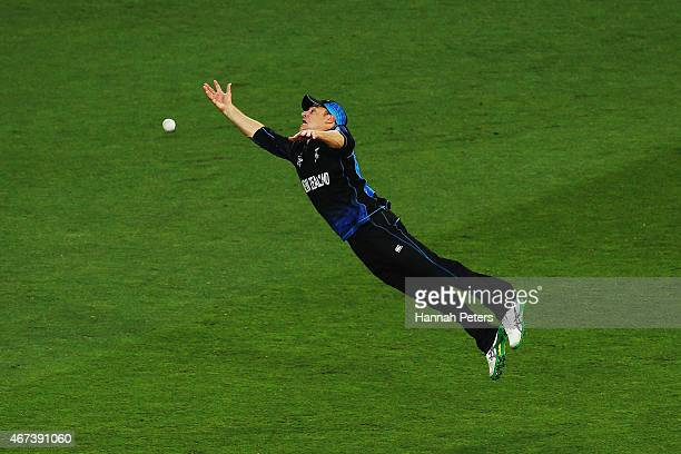 Nathan McCullum of New Zealand drops a catch during the 2015 Cricket World Cup Semi Final match between New Zealand and South Africa at Eden Park on...