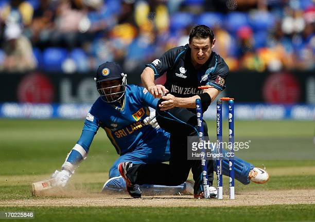 Nathan McCullum of New Zealand fails to run out Kumar Sangakkara of Sri Lanka during the ICC Champions Trophy group A match between Sri Lanka and New...
