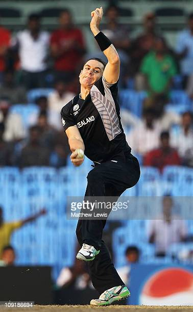 Nathan McCullum of New Zealand in action during the 2011 ICC World Cup Warm up game against India and New Zealand at the MA Chidambaram Stadium on...