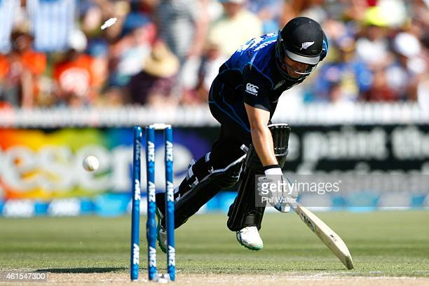Nathan McCullum of New Zealand is run out during the One Day International match between New Zealand and Sri Lanka at Seddon Park on January 15 2015...