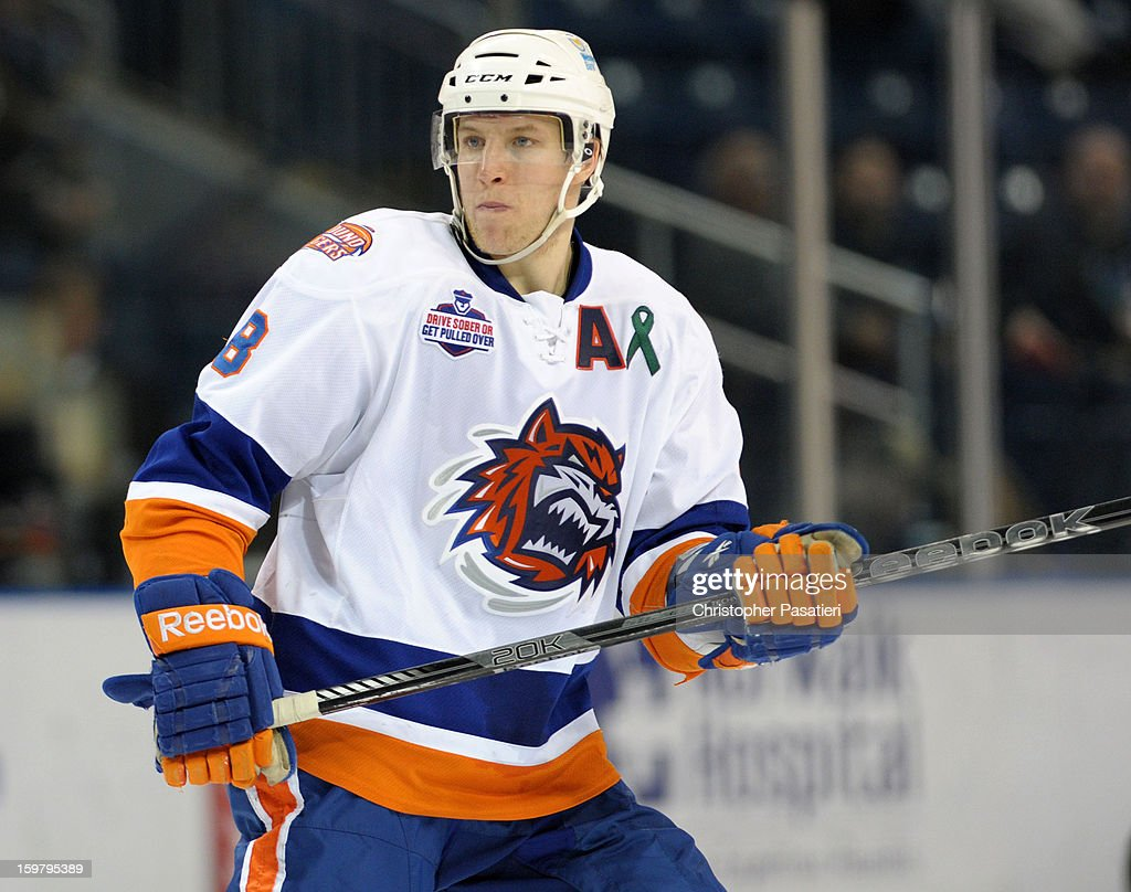 Nathan McIver #8 of the Bridgeport Sound Tigers skates during an American Hockey League game against the Springfield Falcons on January 20, 2013 at the Webster Bank Arena at Harbor Yard in Bridgeport, Connecticut.