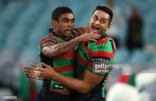 Nathan Merritt and John Sutton of the Rabbitohs celebrate Merritts try during the round 20 NRL match between the South Sydney Rabbitohs and the St...