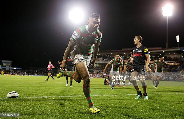 Nathan Merritt of the Rabbitohs celebrates scoring a try during the round 6 NRL match between the Penrith Panthers and the South Sydney Rabbitohs at...