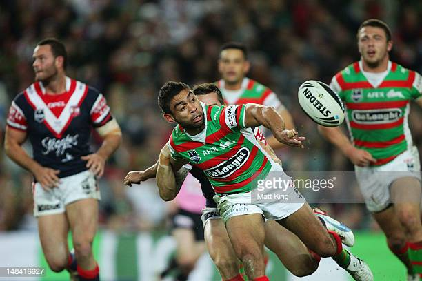 Nathan Merritt of the Rabbitohs gets a pass away during the round 19 NRL match between the Sydney Roosters and the South Sydney Rabbitohs at Allianz...