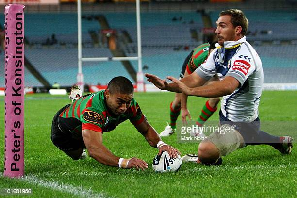 Nathan Merritt of the Rabbitohs scores a try during the round 13 NRL match between the South Sydney Rabbitohs and the North Queensland Cowboys at ANZ...