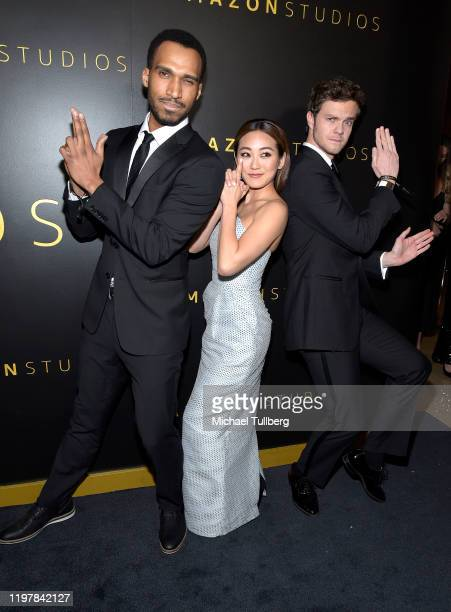 Nathan Mitchell, Karen Fukuhard and Jack Quaid attendsthe Amazon Studios Golden Globes after party at The Beverly Hilton Hotel on January 05, 2020 in...