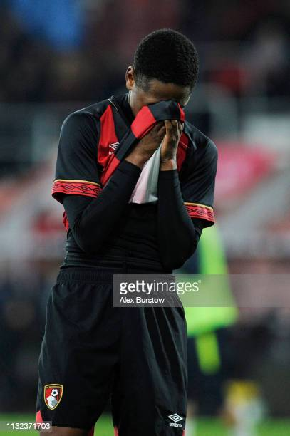 Nathan MoriahWelsh of AFC Bournemouth reacts after the FA Youth Cup Sixth Round Match between AFC Bournemouth U18 and Manchester City U18 at Vitality...