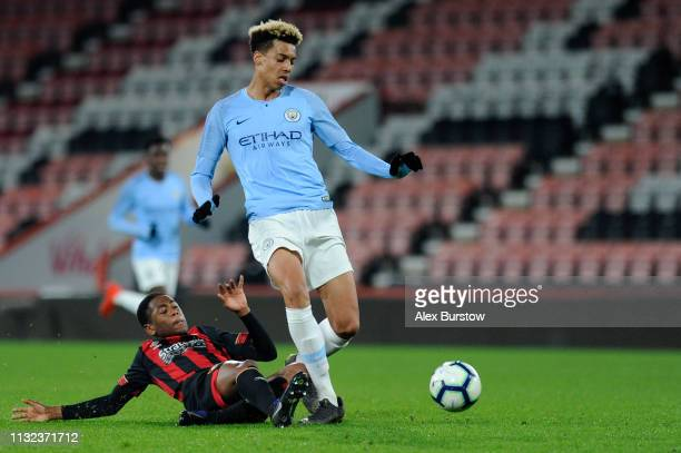 Nathan MoriahWelsh of AFC Bournemouth tackles Felix Nmecha of Manchester City during the FA Youth Cup Sixth Round Match between AFC Bournemouth U18...