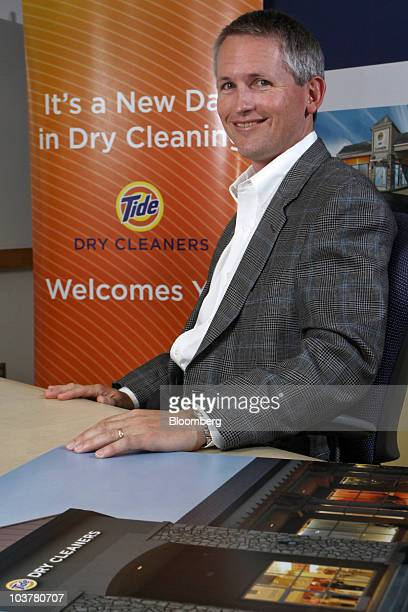 Nathan 'Nate' Estruth vice president of Procter Gamble Co's FutureWorks unit sits for a photo after speaking about the Tide Dry Cleaners franchise at...
