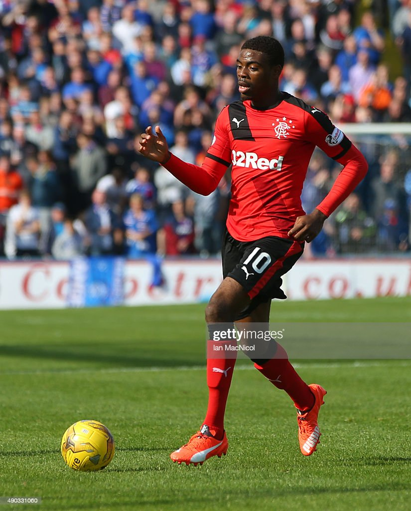 Nathan Oduwa of Rangers controls the ball during the Scottish Championships match between Greenock Morton FC and Rangers at Cappielow Park on September 27, 2015 in Greenock, Scotland.