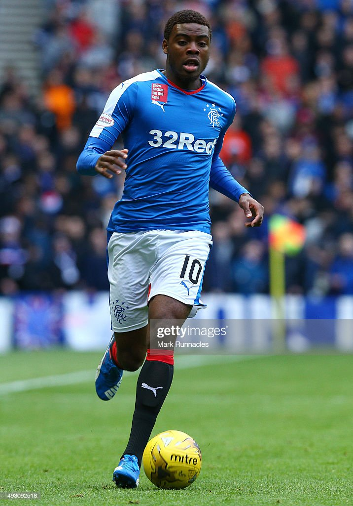 Nathan Oduwa of Rangers in action during the Scottish Championship match between Glasgow Rangers FC and Queen of the South FC at Ibrox Stadium on October 17, 2015 in Glasgow, Scotland.